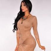 suede dress,nude dress,draped dress