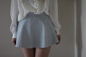 skirt,light blue,denim,white blouse,button up,sheer