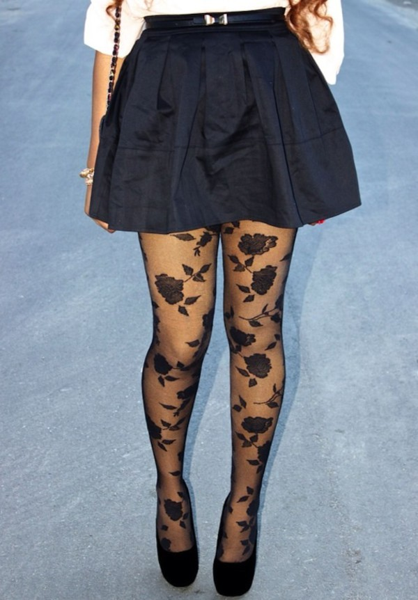 tights black tights pattern roses skirt