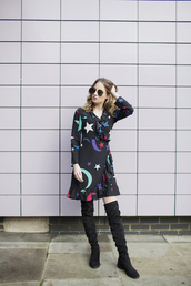at fashion forte,blogger,dress,sunglasses,jewels,shoes,boots,over the knee boots,moon,long sleeve dress