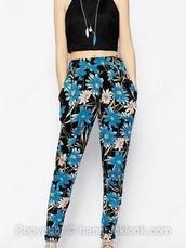 floral pattern,harem pants,pants,loose pants,floral pants,blue,blue pants,blue floral,blue floral print,white,white floral pants,white floral,black,black pants,light blue,teal