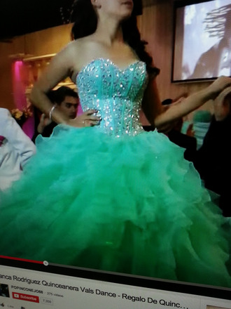dress quinceanera dress teal dress mint green dress silver