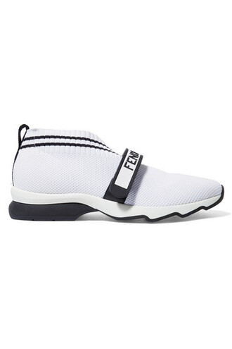 mesh sneakers white print knit shoes