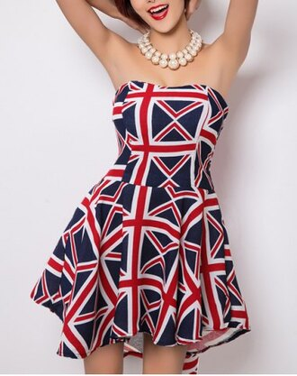 dress flag blue red white fashion style sweet strapless geometrical print dress for women party strapless rg