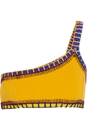 bikini bikini top yellow crochet swimwear