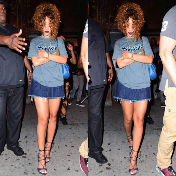 6f471c7b6fca skirt, top, denim, denim skirt, rihanna, sandals, t-shirt, shoes ...