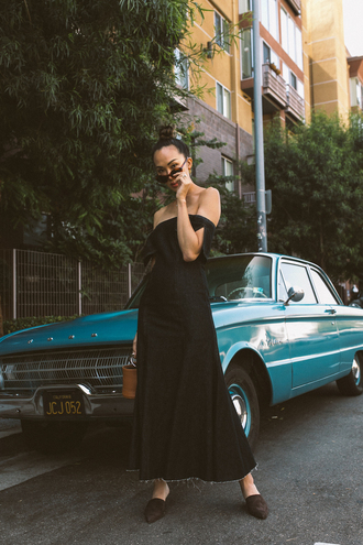 dress sunglasses tumblr off the shoulder off the shoulder dress maxi dress long dress shoes