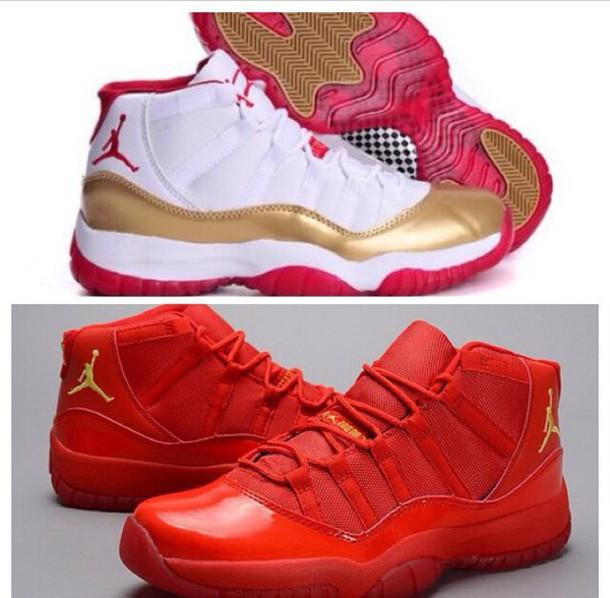red white gold jordans 11 s all red 9d8f27701787