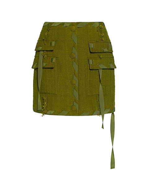 Msgm Fringe Tweed A Line Mini Skirt Green