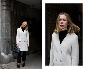 fashionsquad blogger coat bag pants grey coat flare pants