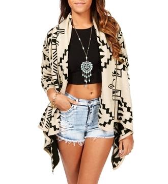 coat ethnic aztec aztec sweater short shorts black crop tops ripped jeans waterfall coat waterfall jacket necklace dreamcatcher dreamcatcher necklace jewels fantasy jewel ethnic print aztec hoodie