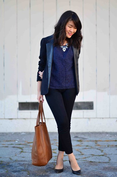 daily disguise blogger shirt black jacket brown leather bag