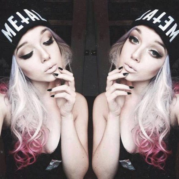ombre ombre hair black beanie beannies beanies hat metal cross hipster white grunge pastel goth goth