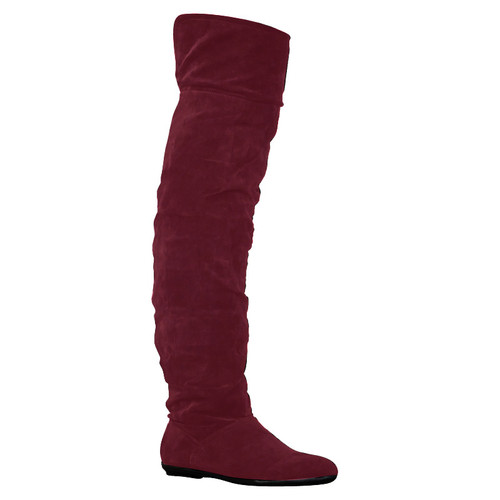 1J WOMENS FAUX SUEDE LADIES FLAT OVER THE KNEE LONG SLOUCH WINTER BOOTS SIZE 3-8   Amazing Shoes UK