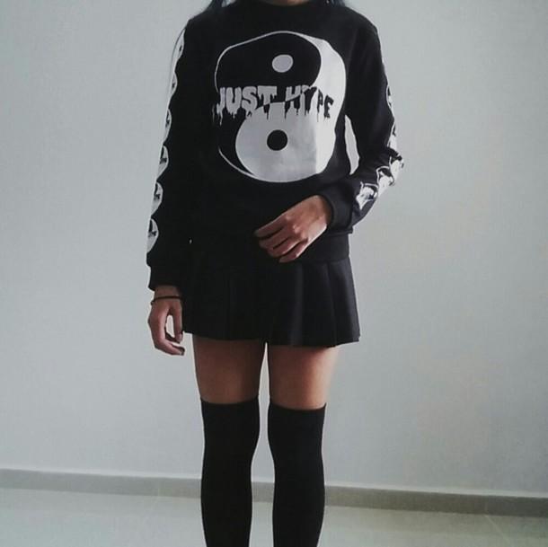 sweater grunge just hype black and white yin yang yin yang sweater pale soft grunge yin yang hype goth emo melting yin and yang yin yang shirt style melting pastel pastel goth Blasian asian shirt