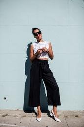 top,white shoes,tumblr,crop tops,pants,black pants,cropped pants,culottes,shoes,sunglasses