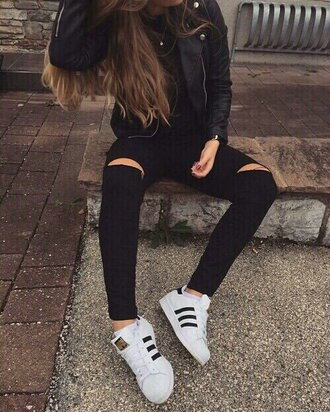 jeans grunge girl grunge new style black jeans cut off shorts black ripped jeans ripped skinny jeans adidas shoes sneakers adidas superstars