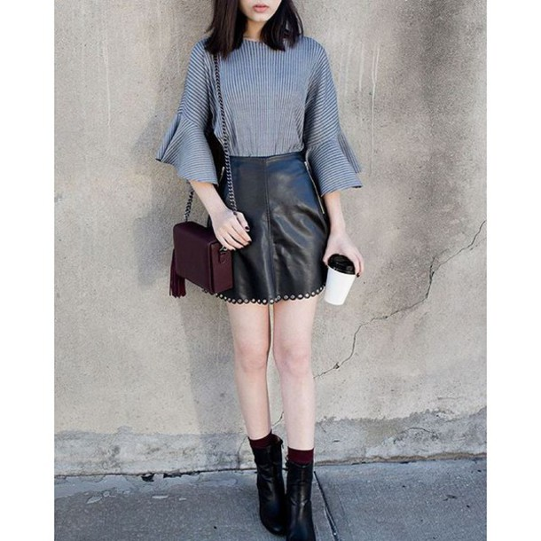 Skirt Black Scalloped Leather Eyelet Mini Skirt Leather