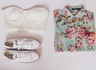 blouse shirt flowers pretty beautiful floral converse white hipster shoes bustier bralette bandeau top floral button down