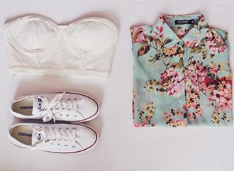 blouse shirt flowers pretty beautiful floral converse white hipster shoes bustier bralette bandeau top floral button down