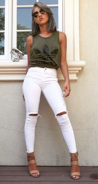 tank top adidas top olive green girl