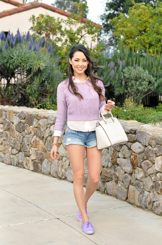 hapa time blogger cable knit lilac denim shorts white shirt purse