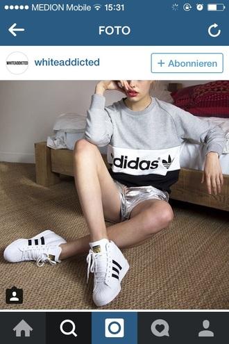 sweater adidas black grey white shoes shorts