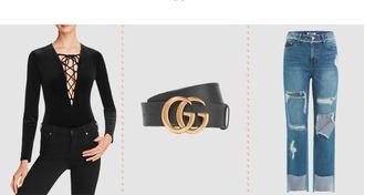 underwear gucci belt logo belt ripped jeans cropped jeans lace up bodysuit jeans