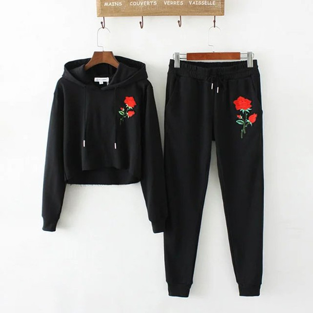 sweater roses floral black hoodie sweatpants sporty embroidered long sleeves spring girly cute fashion style lounge wear pants
