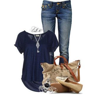 blouse jeans shoes bag blue khaki