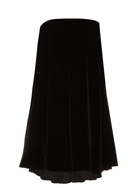 LA MANIA dress velvet dress strapless velvet black
