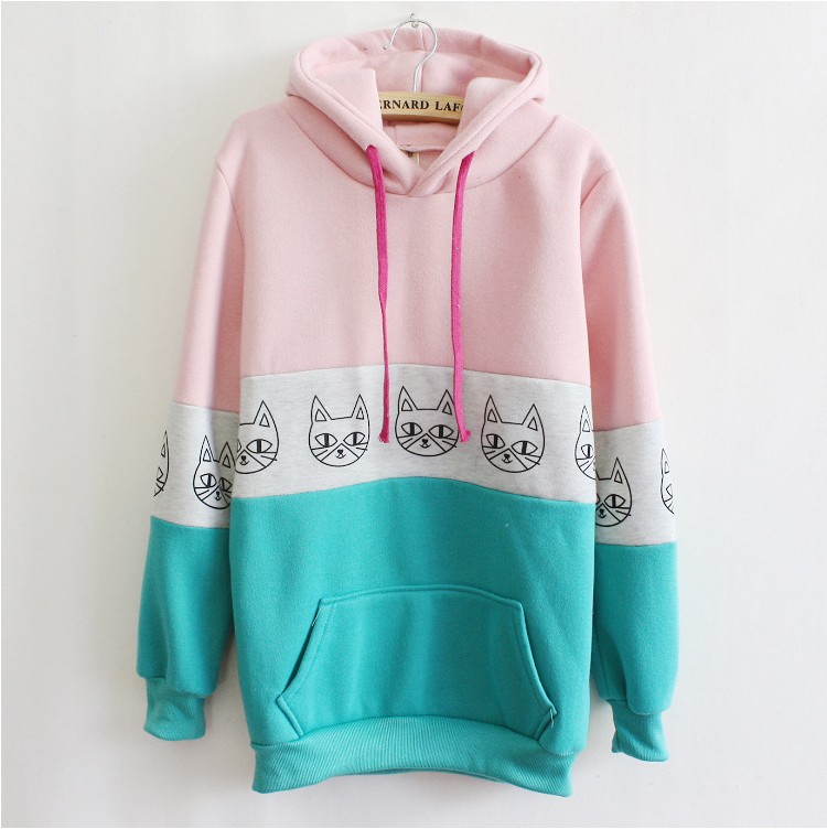 [Magic] Newest style lovely cats women hoodies cotton thick fleece mix color with hoody winter sweatshirts 5 color free shipping-in Hoodies & Sweatshirts from Apparel & Accessories on Aliexpress.com