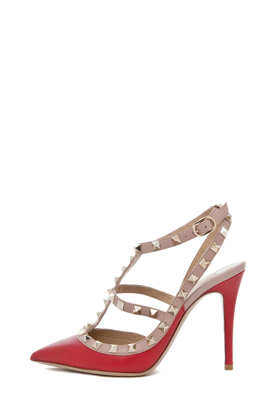Valentino | Rockstud Leather Slingbacks T.100 in Red