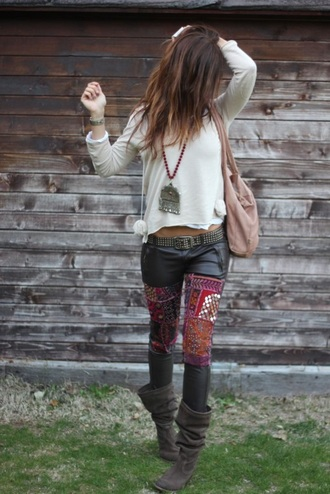 leggings boho pants embellished