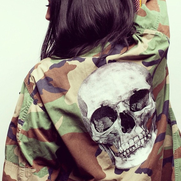 skull jacket army green camo jacket