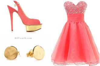 short dress homecoming dress 2014 homecoming coral coral dress mini dress coral dresses fashion