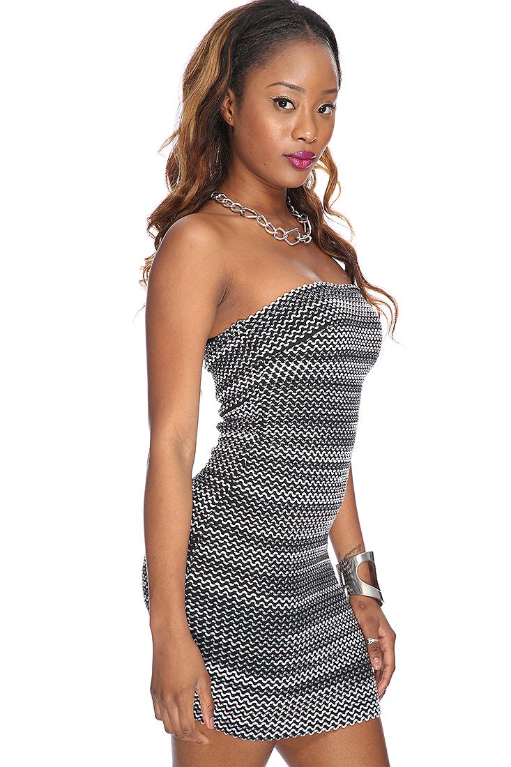 Charcoal grey strapless sexy bandage dress