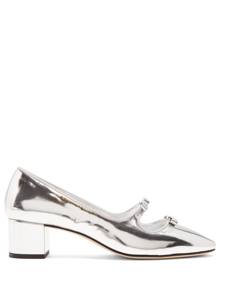 ALEXACHUNG cut-out pumps leather silver shoes
