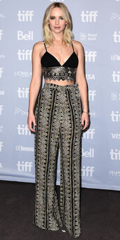 pants,top,crop tops,jennifer lawrence,embroidered