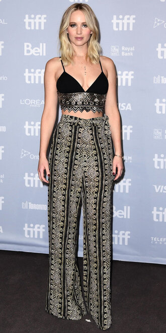 pants top crop tops jennifer lawrence embroidered
