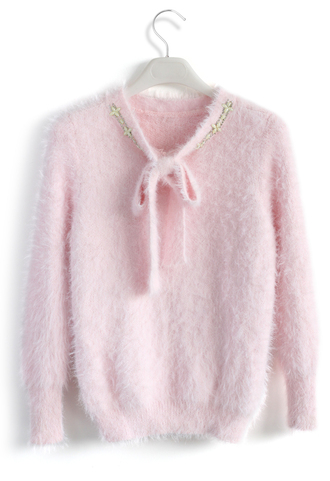top fluffy bow neck sweater in pink chicwish pink