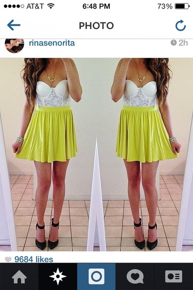 skirt yellow skirt yellow dress lace lace shirt skater skirt white dress yellow dress white crop top