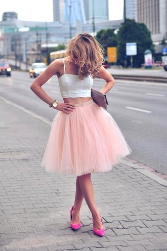 white crop tops crop tops tutu tulle skirt pink skirt skirt romantic pink heels high waisted skirt clutch