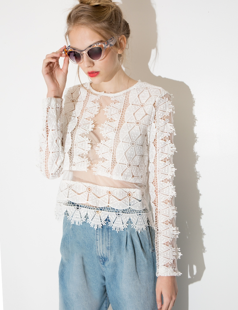 White Lace Crop Top - Crochet Long Sleeve Top -