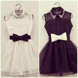 dress black dress white dress bow dress bow cool cute