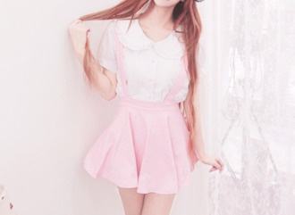 blouse kawaii kawaii outfit kawaii fashion cute cute  outfits peter pan collar peter pan collar blouse white pink pastel pastel pink short sleeve top tumblr tumblr outfit tumblr clothes tumblr shirt school girl