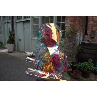 coat holographic raincoat tumblr color/pattern rain jacket multicolor holographic windbreaker transparent coat metallic jacket rainbow transparent colorful neon cool fall outfits girly cute clothes windbreaker iridescent