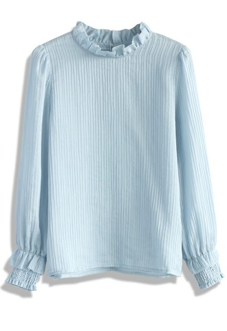 top creases of love blouse in blue chicwish blue blouse