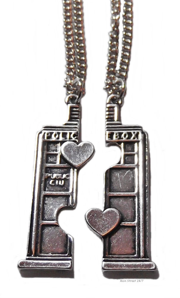 Doctor Who SET of 2 Split TARDIS POLICE BOX BFF Double Heart NECKLACES | eBay