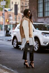 jacket,tumblr,camel,baseball jacket,teddy jacket,bomber jacket,pants,black pants,cropped pants,shirt,stripes,striped shirt,sandals,sandal heels,high heel sandals,black sandals,sunglasses,aviator sunglasses